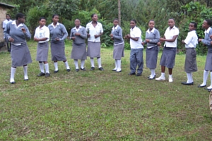 Children in grey school uniforms