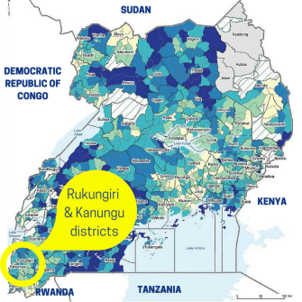 Map of Uganda showing Rukungiri and Kanungu districts in the south west corner
