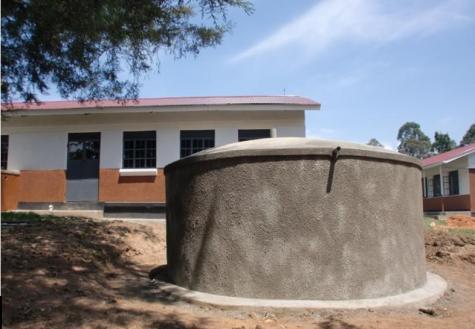 Rainwater collection tank at Nyabiteete
