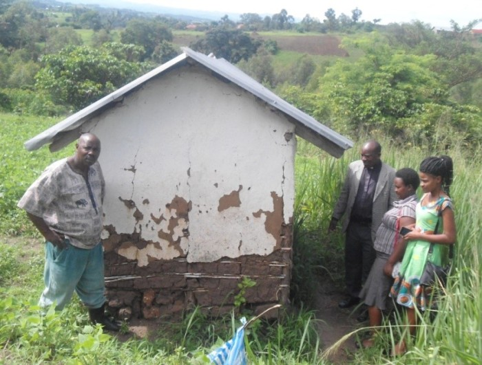 Crumbling latrine at Bwambara Church